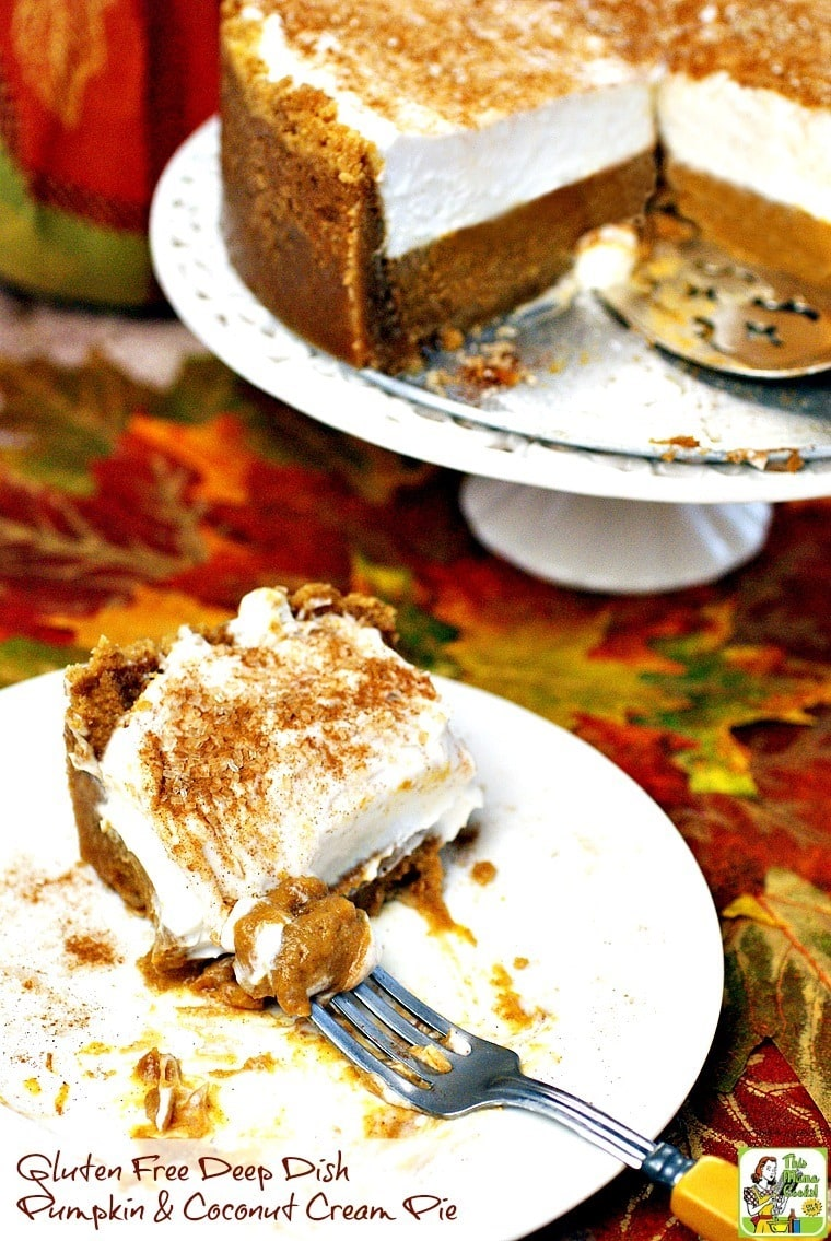 Not only is this pumpkin dessert recipe gluten free and dairy free, but it's super portable, too! Make this Gluten Free Deep Dish Pumpkin & Coconut Cream Pie recipe for your next potluck or family party. Click here to find out how.