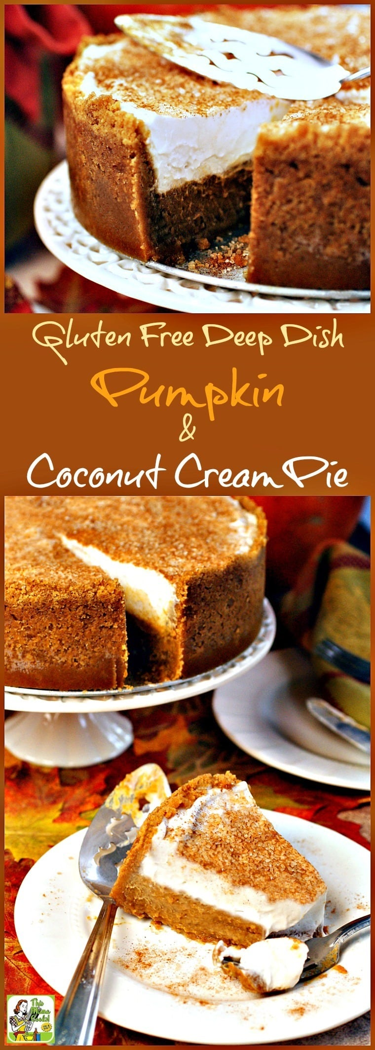 Not only is this pumpkin dessert recipe gluten free and dairy free, but it's easy to make and transport to a potluck party, too! Click here to get the recipe for Gluten Free Deep Dish Pumpkin & Coconut Cream Pie. #pumpkin #pie #dessert #glutenfree #thanksgiving #coconut #pumpkinpie