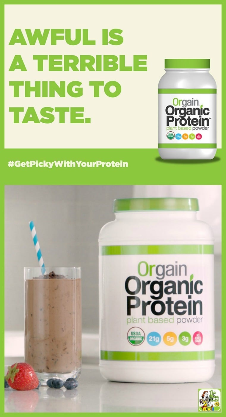 Picky about your protein powders? Try Orgain Organic Protein Powder! It's gluten free, ideal for vegans and vegetarians, organic, non-GMO, and it has no added sugars. Each serving has 21g of plant-based protein per serving, only 3g net carbs, and 5g of fiber per serving. And it's delicious and not gritty!
