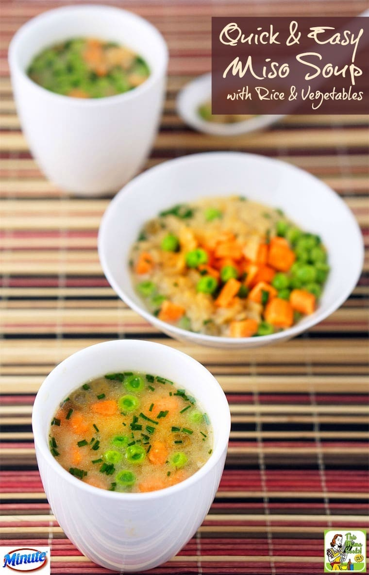 This Quick & Easy Miso Soup recipe made with rice and vegetables makes a great snack or meal.