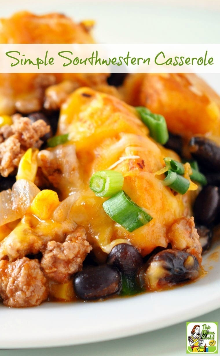 This Simple Southwestern Casserole recipe is perfect for busy weekend nights. Your family will love this easy to make one pot recipe!