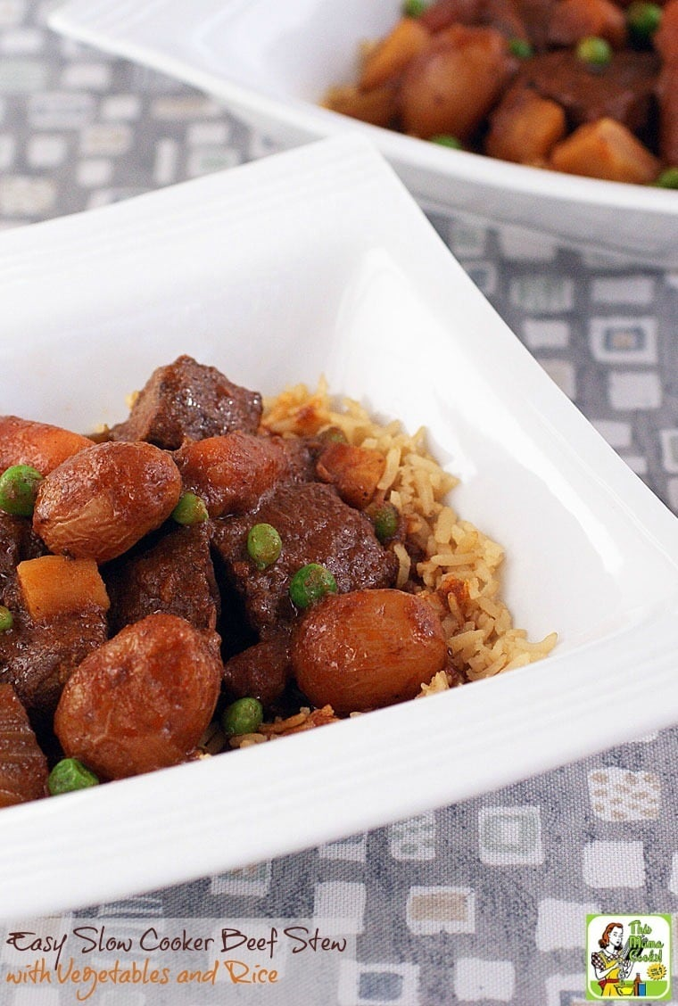 This easy beef slow cooker recipe is gluten free. Click to get the recipe for Easy Slow Cooker Beef Stew with Vegetables and Rice.