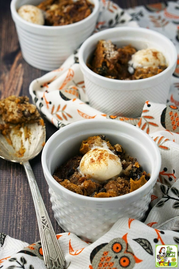 A slow cooker pumpkin pudding that's gluten free that's quick and easy to make.