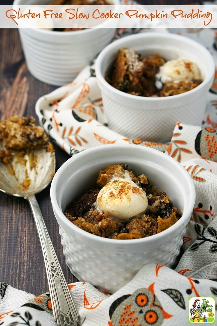 This Gluten Free Slow Cooker Pumpkin Pudding recipe is so easy to make. It's a delicious pumpkin dessert recipe for Halloween, Thanksgiving or any fall time parties. It's also gluten free, dairy free and vegan. Click to get this easy Crock-Pot recipe.