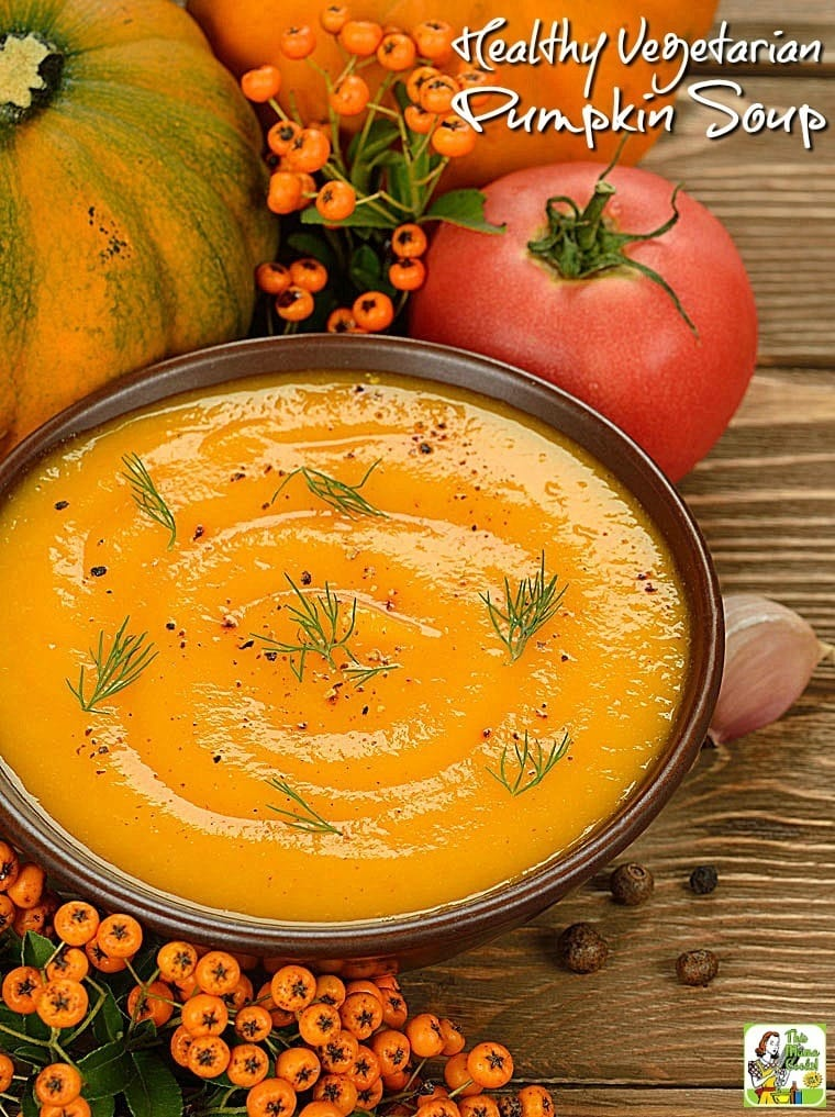 This Healthy Vegetarian Pumpkin Soup recipe will work for Halloween as a Thanksgiving starter. Click to get this easy pumpkin recipe.
