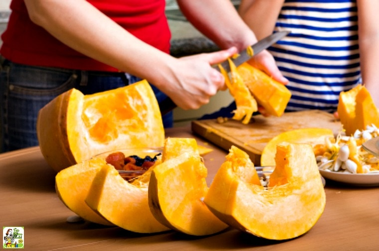 Learn how to cut up pumpkin when cooking pumpkin to make puree for baking and cooking
