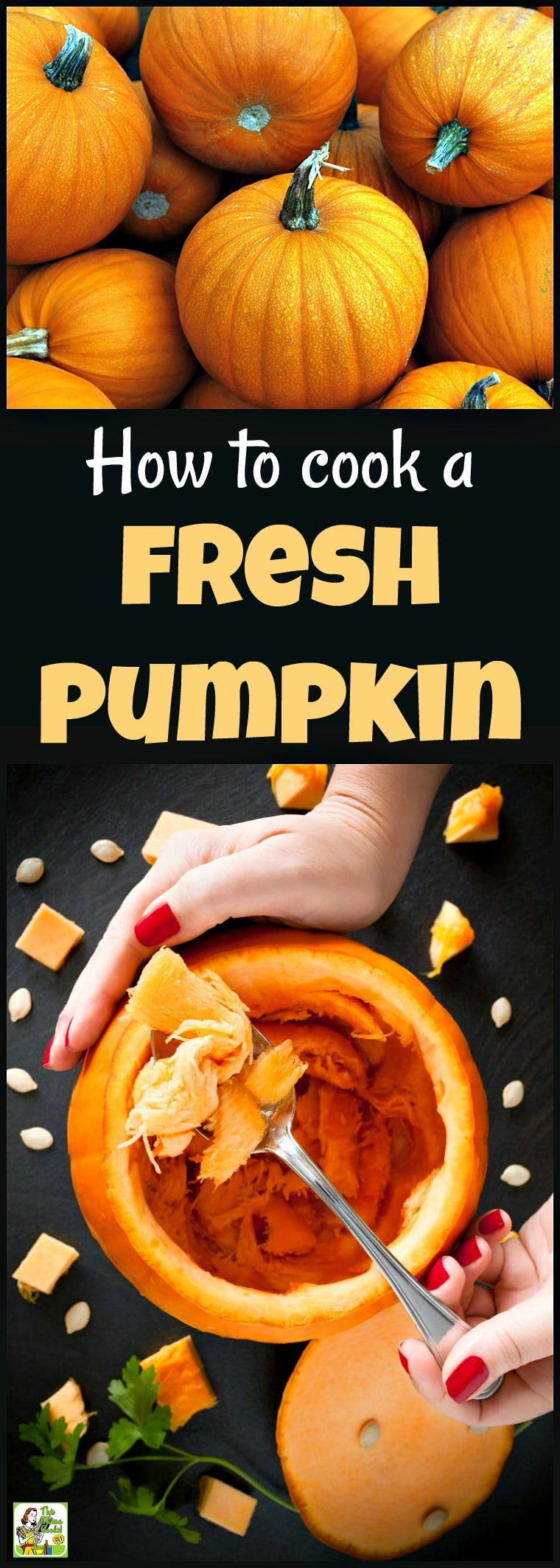 Want to know how to cook fresh pumpkin for Halloween and Thanksgiving recipes? It's easy to do! Plus two ways on how to cook pumpkin seeds. Click to get the pumpkin puree recipe! #pumpkin #pumpkinpie #cookingpumpkin #halloween #thanksgiving #pumpkinseeds