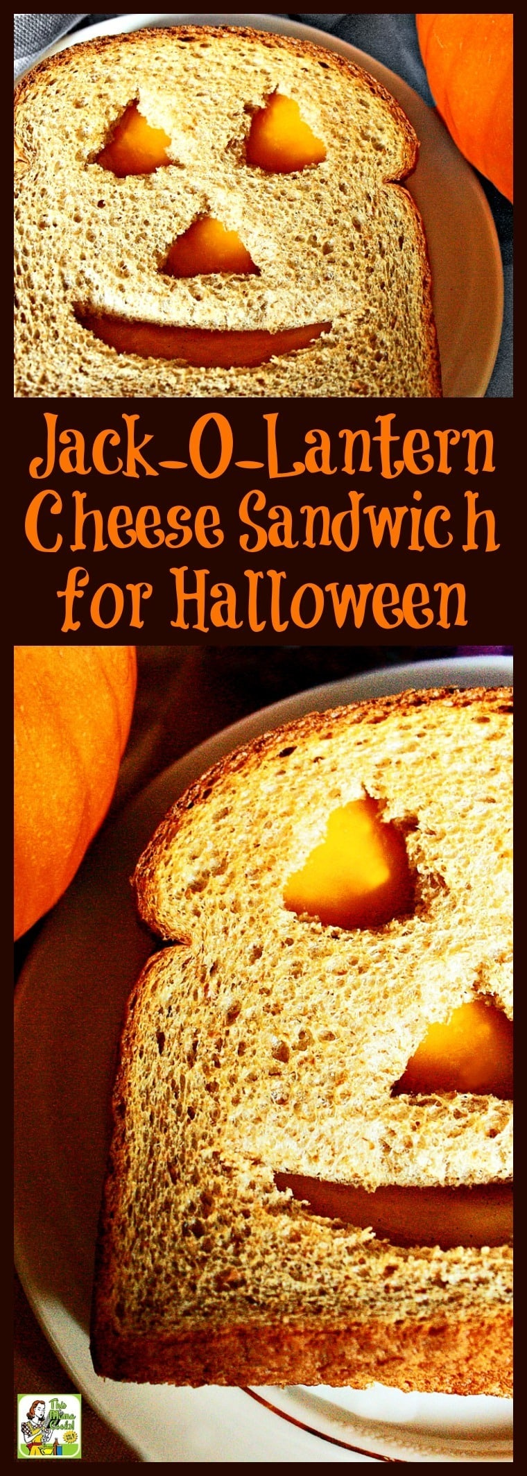 Need Halloween sandwich ideas kids love? Make a Jack-O-Lantern Cheese Sandwich! This Jack-O-Lantern Cheese Sandwich for Halloween recipe is a healthy cheese sandwich for Halloween kids parties. So easy to make that the kids can do it themselves! Click to get this fun and healthy Halloween recipe. Can be made gluten free.
