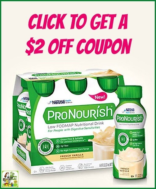 Click to get a FREE sample & a $2 off coupon for ProNourish nutritional drinks. They're the perfect on the go snack or mini-meal for those who have food sensitivities or are following a low FODMAP diet due to IBS.
