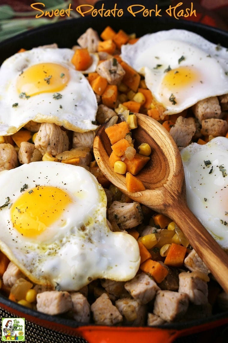 Make this Sweet Potato Pork Hash recipe for brunch or brinner. A hash recipe like this is made in a skillet in less than 30 minutes. #pork #hash #sweetpotatoes #glutenfree #onepot #skillet #sweetpotatohash #porkhash #brinner #breakfast #brunch #corn #eggs