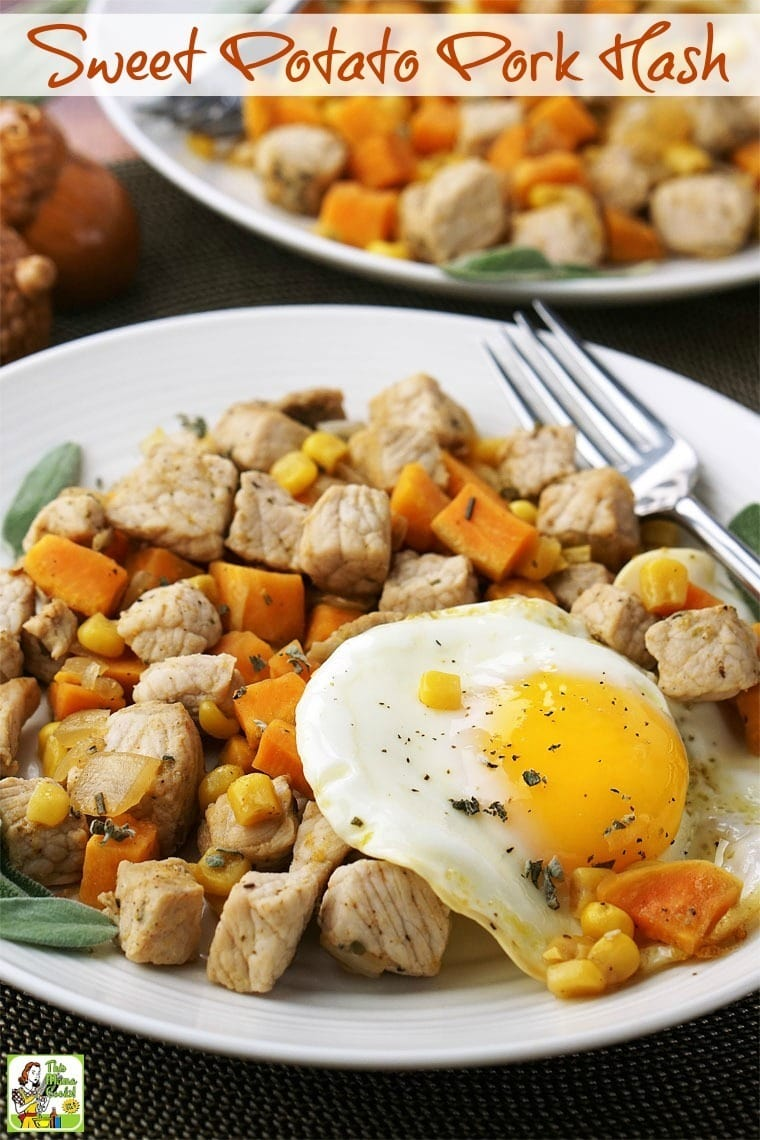 People love brinner recipes. Unlike a full blown dinner, my Sweet Potato Pork Hash recipe that only takes 30 minutes (or less) to cook up. #sweetpotato #onepotrecipe #skilletcooking #skilletrecipe #glutenfree #porkhash #eggs #brinner #breakfast #dinner #sweetpotatohash
