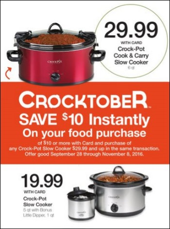 This month at Kroger, when you buy a Crock-pot Slow Cooker at $29.99 or more in the same transaction through November 8, you'll receive $10 off your food purchase.