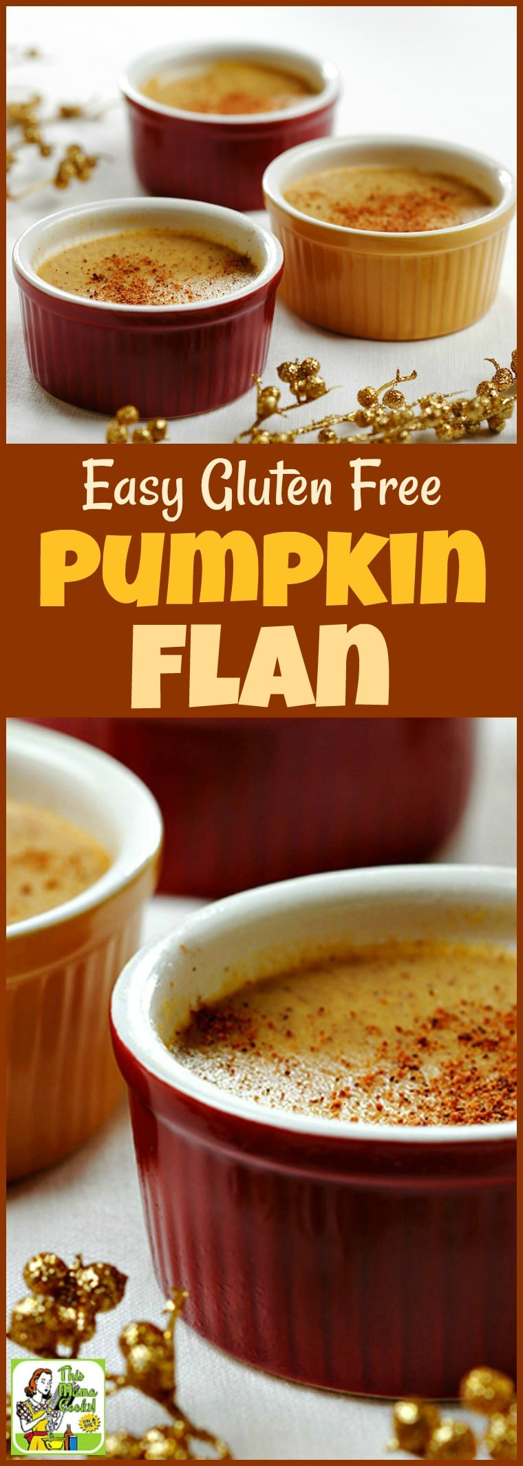 This Easy Gluten Free Pumpkin Flan can be made dairy free. Click to try this easy pumpkin dessert recipe for Thanksgiving, Halloween or the Fall. #recipe #easy #recipeoftheday #healthyrecipes #glutenfree #easyrecipes #snack #snacks #dessert #dessertrecipes #pumpkindessert #pumpkinrecipe #pumpkin #pumpkinspice #halloween #thanksgiving #flan #dairyfree