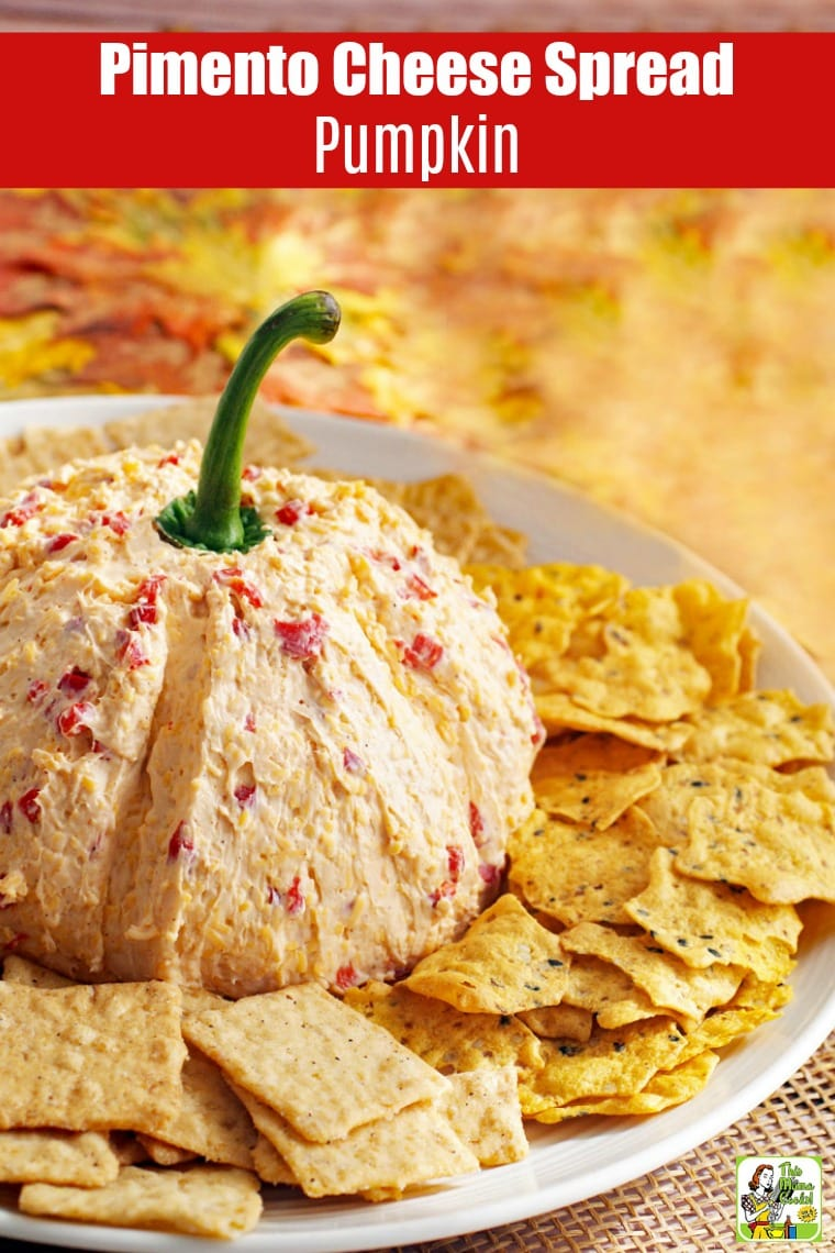 Pimento Cheese Spread Pumpkin with crackers on a plate