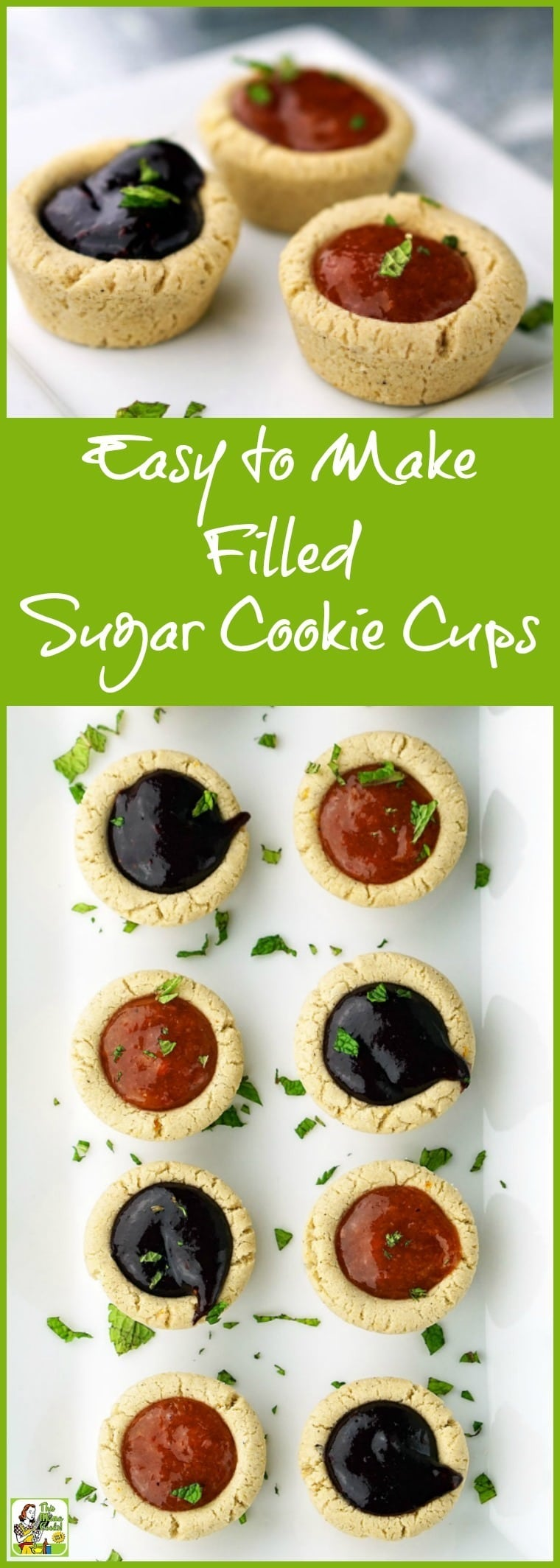 You'll love these Easy to Make Filled Sugar Cookie Cups with a gluten free option. Click to get this gluten free cookie recipe. Perfect for holiday cookie exchanges or Christmas parties.