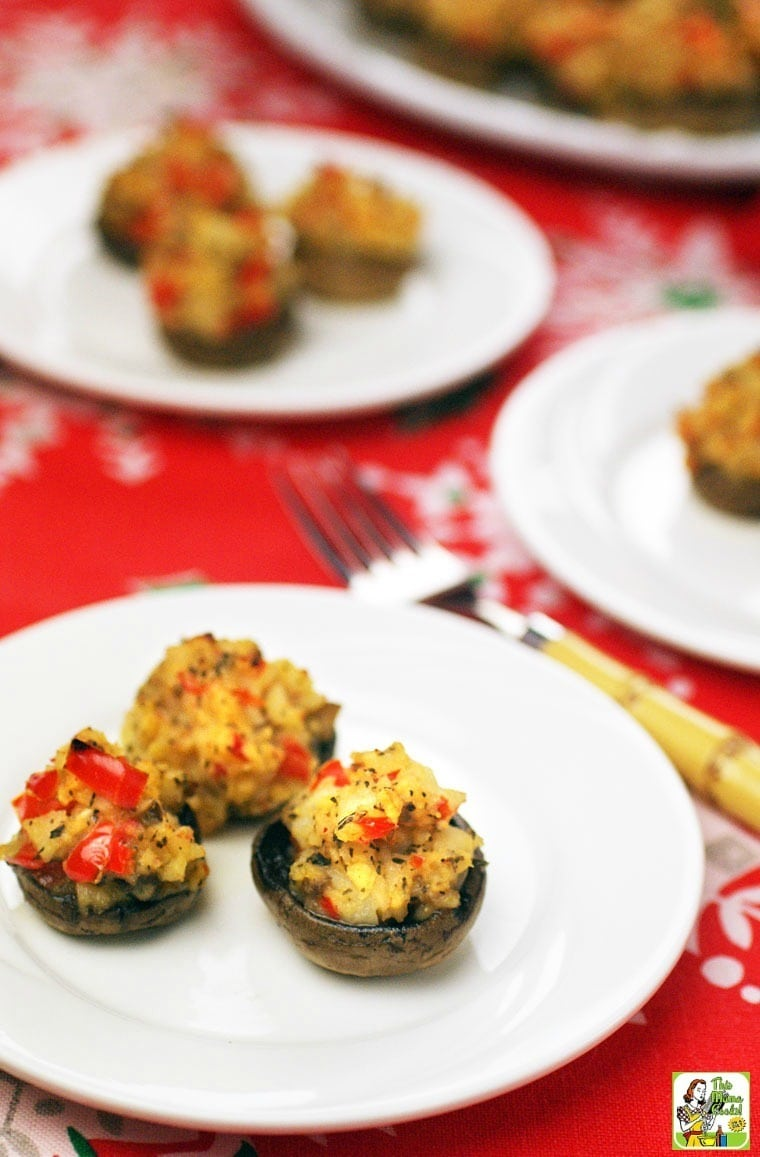 Love stuffed mushrooms? You've got to try these Gluten Free Crab Stuffed Mushrooms Appetizers! Click to get the gluten free stuffed mushroom appetizer recipe.