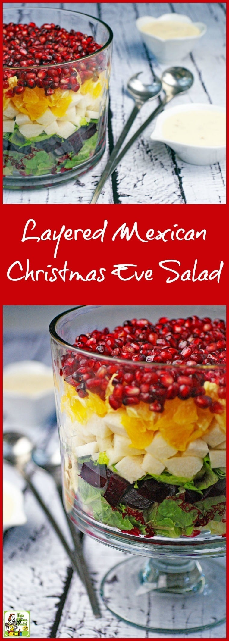 Make something different for the holidays or any time of the year! Learn how to make a Layered Mexican Christmas Eve Salad in a trifle bowl. Click to get this traditional and easy Christmas Eve dinner salad recipe. Super easy to make, very healthy, and so festive looking!  #Christmas #salad #triflebowl #Mexican #ChristmasEve #healthy #glutenfree #beets #pomagranate #Mexicanfood