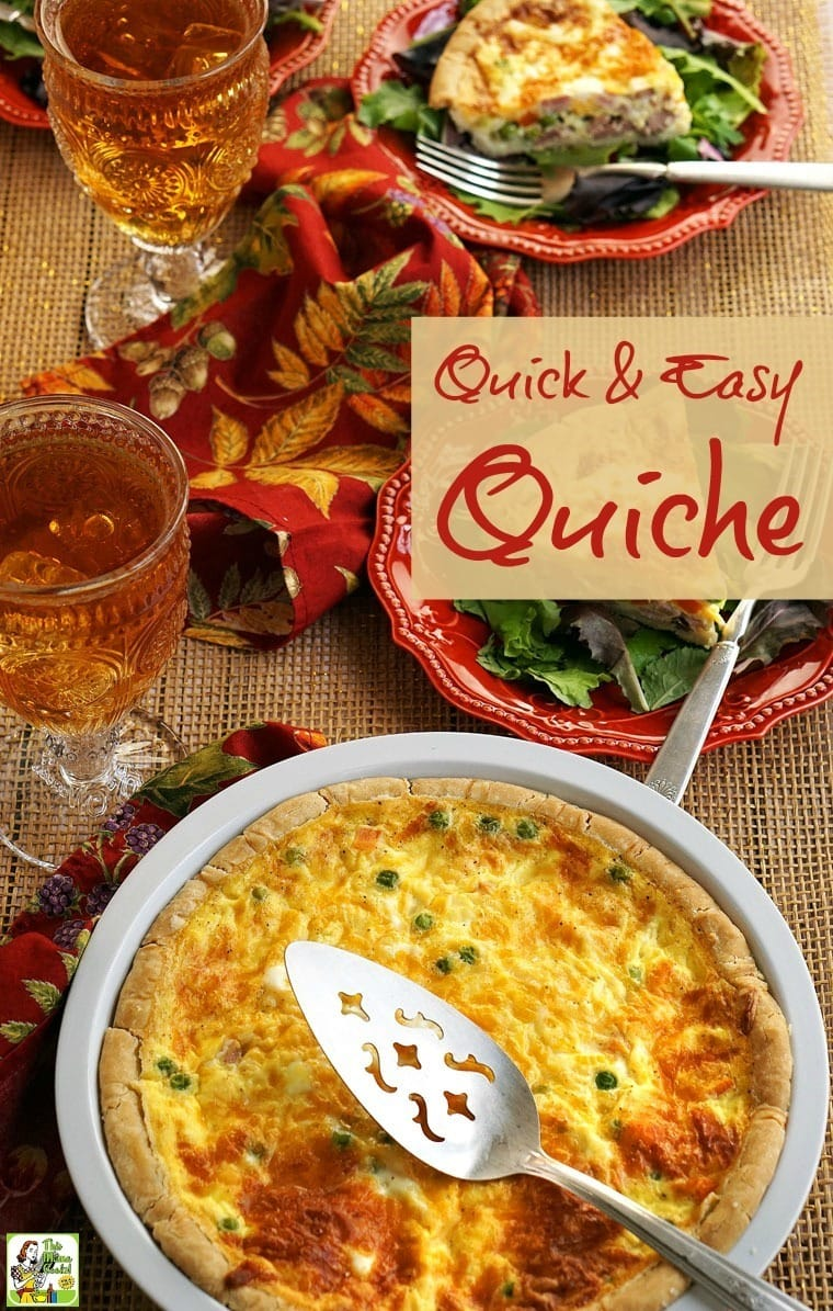 Quick Quiche can be served for brunch, dinner or brinner.  Making this simple quiche recipe is a snap!