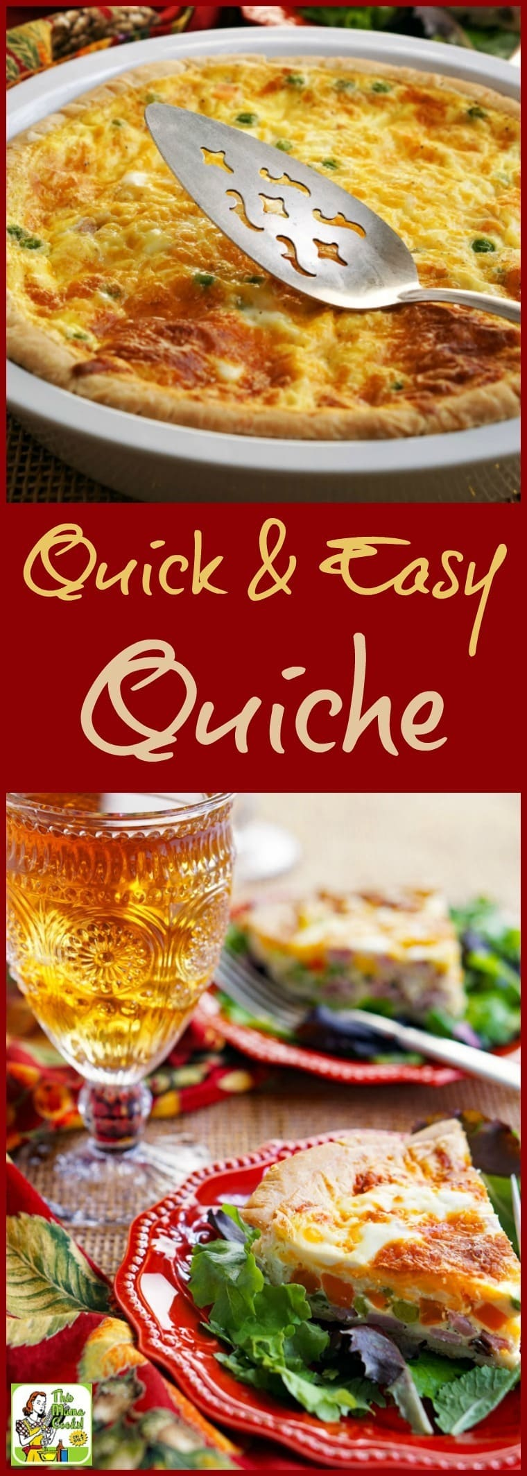 This Quick Quiche recipe can be made with leftovers or for parties. Click to get this simple quiche recipe dinner, brunch, breakfast or brinner recipe. A simple quiche recipe can be made vegetarian or gluten free, too! #quiche #glutenfree #brunch #breakfast #brinner #dinner #onepot #leftovers #vegetarian