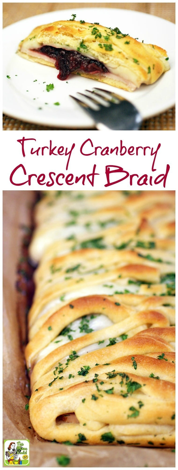 Love crescent roll appetizers? Not only is this Turkey Cranberry Crescent Braid recipe a terrific party appetizer, it's a thrifty way to use up holiday dinner leftovers. This will soon become one of your favorite holiday crescent rolls recipes! #crescentrolls #appetizers #holidayrecipes #leftovers #turkey #cranberry #partyfood #crescentbraid #thanksgiving #christmas