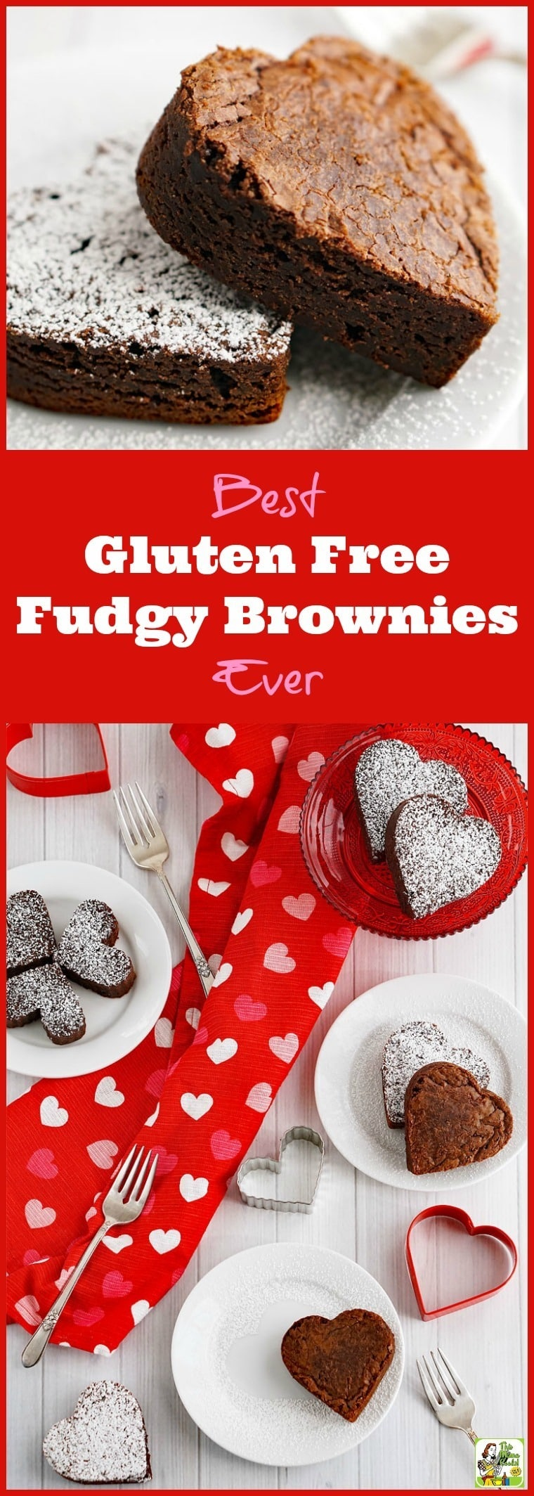 Looking for a gluten free fudgy brownie recipe? Try the Best Gluten Free Fudgy Brownies Ever! Click to get this easy gluten free brownie recipe. Perfect for Valentine's Day! #valentinesday #brownies #glutenfree #chocolate #dessert #hearts #glutenfreedessert #fudgybrownies #glutenfreebrownies #valentinesdaydessert #glutenfreebaking #heartshaped #bestbrowniesever