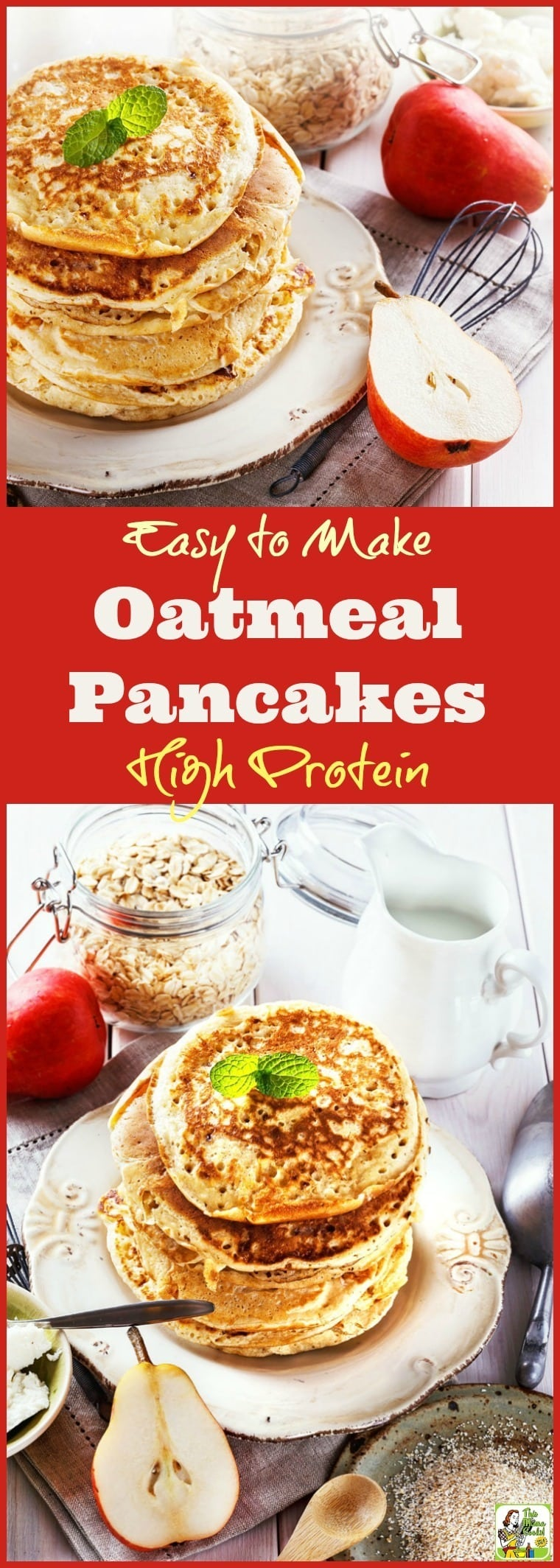 This oatmeal and Greek yogurt protein pancake recipe is easy to make and naturally gluten free. Click to learn how to cook up a batch of Easy to Make High Protein Oatmeal Pancakes for breakfast or brinner!