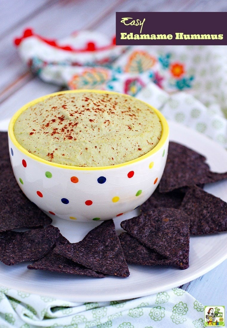 Try this Easy Edamame Hummus recipe at your party! Serve this Easy Edamame Hummus recipe as a party appetizer with naturally gluten free tortilla chips.