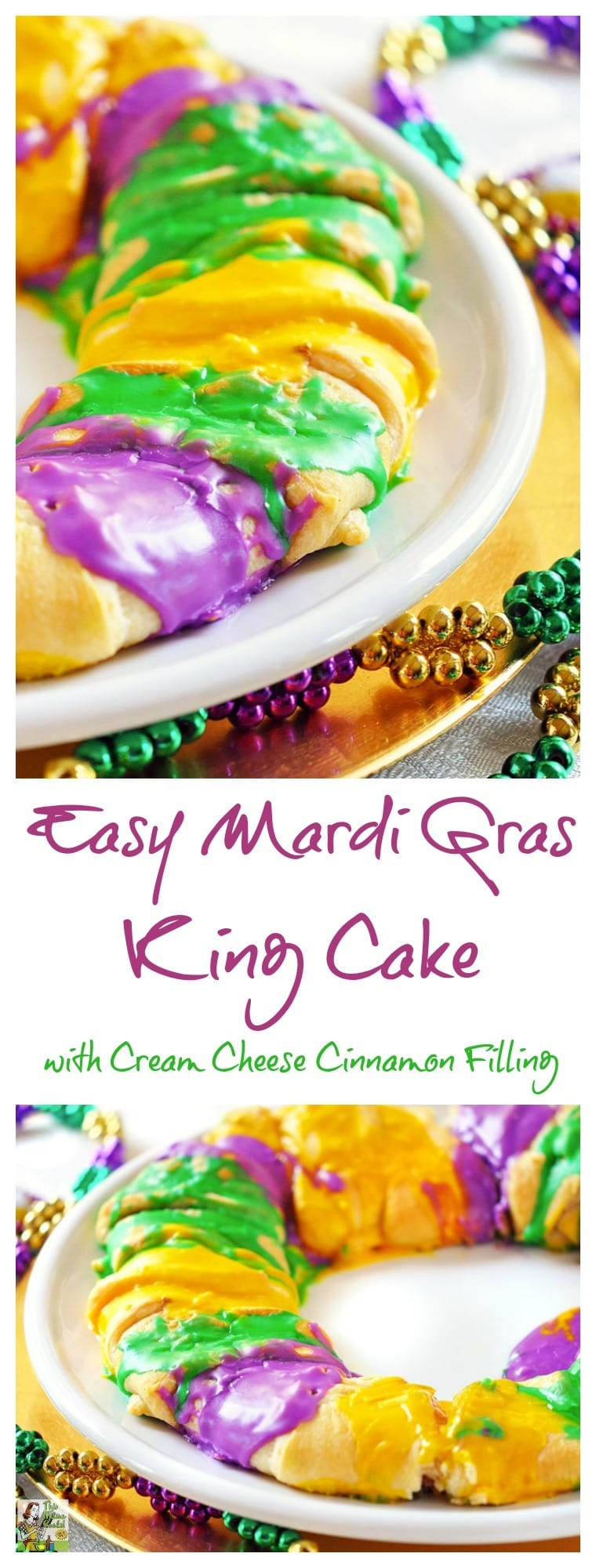 Need a King Cake recipe for your Mardi Gras party? Make this healthier and easy to make Mardi Gras King Cake recipe with Cream Cheese Cinnamon Filling!