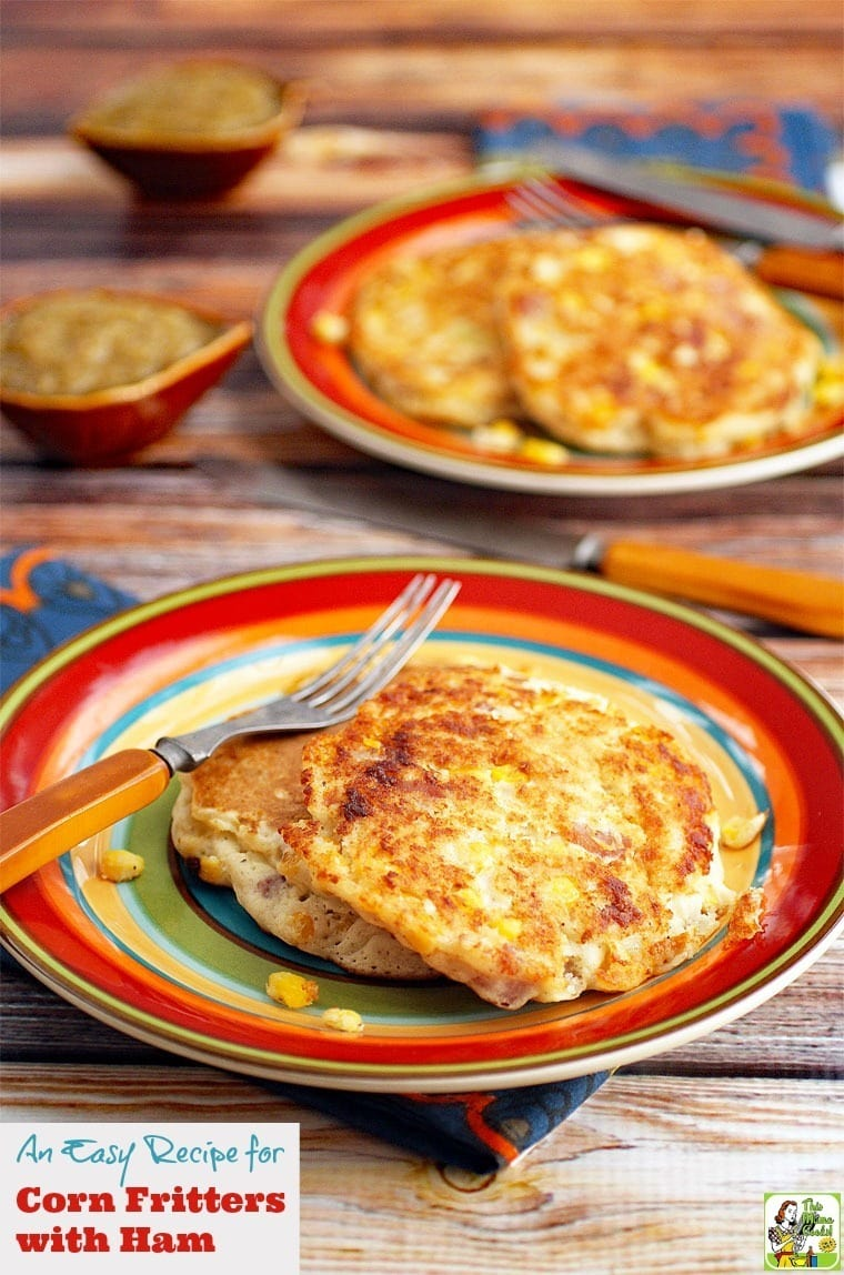 An Easy Recipe for Corn Fritters with Ham for Pancake Day! Click to get this gluten free and dairy free pancake breakfast and brinner recipe.