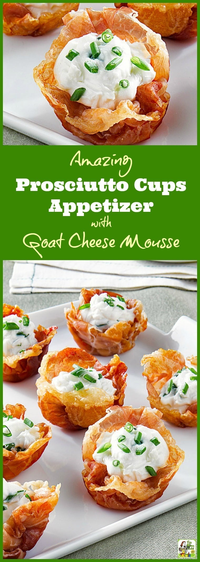 Try this Amazing Prosciutto Cups Appetizer with Goat Cheese Mousse at your party. Click to get this easy goat cheese appetizer recipe. This appetizer is gluten free since it uses prosciutto to form the cups, not pastry or phyllo dough. #appetizer #glutenfree #goatcheese #prosciutto #partyfood #entertaining