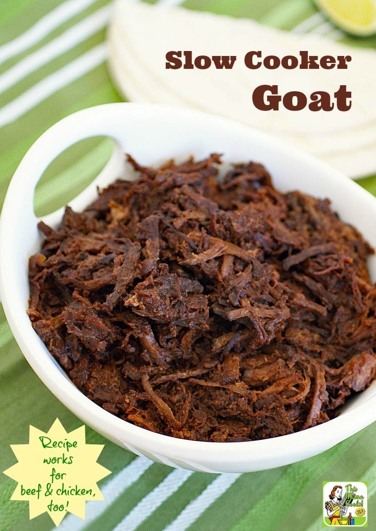 This Slow Cooker Goat recipe makes amazing shredded beef & chicken, too! Click to get this easy crock-pot shredded goat recipe.