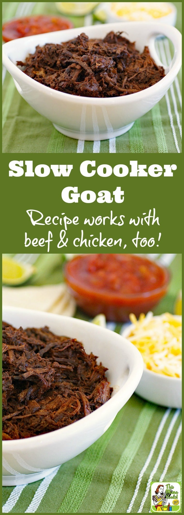 This Slow Cooker Goat recipe makes amazing shredded beef & chicken, too! Click to get this easy to make and healthy crock-pot shredded goat recipe.