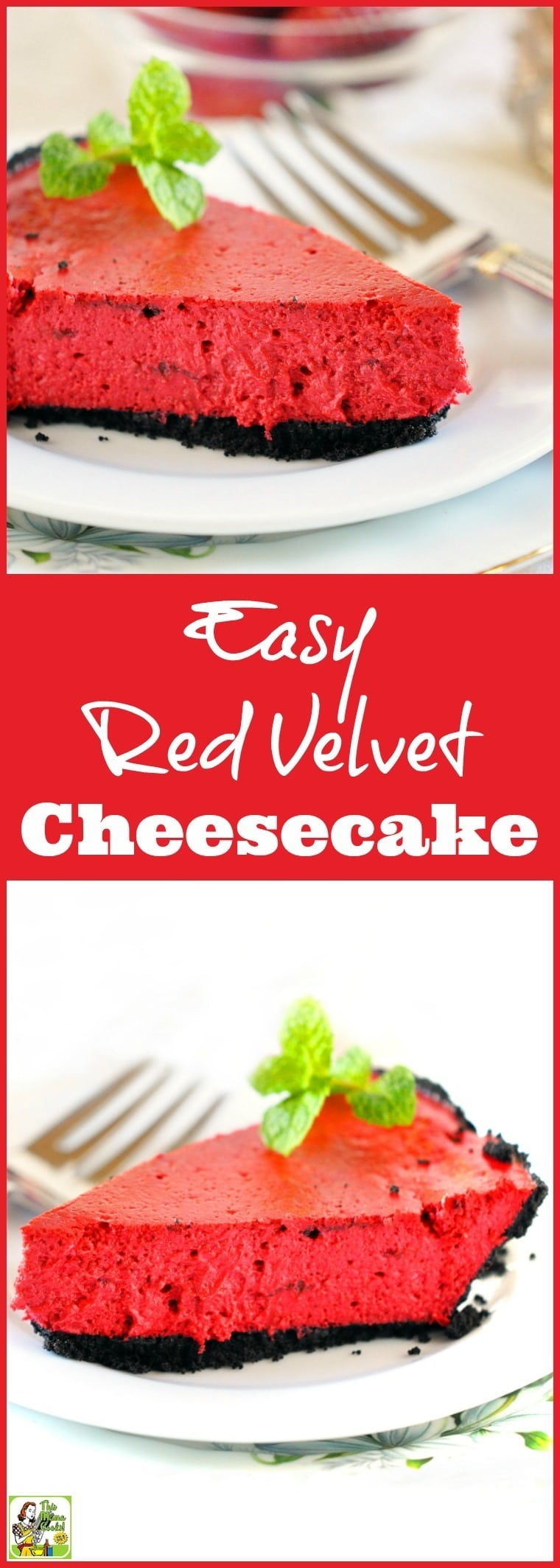Looking for an Easy Red Velvet Cheesecake recipe? Click to get this simple and healthy dessert recipe for Valentine's Day, Christmas, Fourth of July, Memorial Day, Labor Day, picnics, parties, and barbecues. Can be frozen. Gluten free and dairy free options. Easy to make and diabetic friendly.