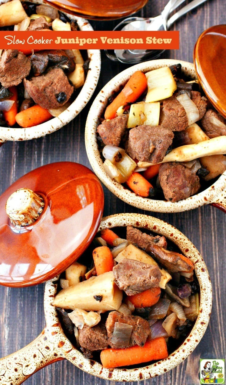 Bowls of venison stew and vegetables.