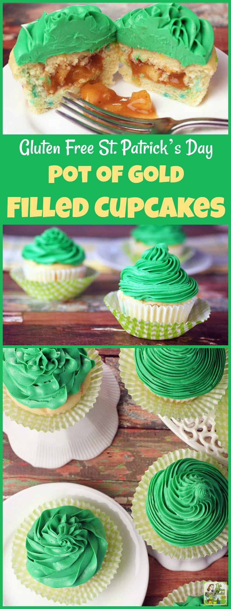 Making this Gluten Free St. Patrick's Day Pot of Gold Filled Cupcakes recipe is easier than you think. This gluten free cupcake recipe uses box mix and frosting from the store. The apple pie filling can be made on your stovetop in less than 30 minutes. Use this cupcake filing technique for other holidays besides St. Patrick's Day when you need a fun gluten-free dessert! #stpatricksday #glutenfree #applepiefilling #baking #bakingrecipes #cupcakes #cupcakerecipes #cupcakerecipeseasy #desserts #dessertrecipes #dessertideas