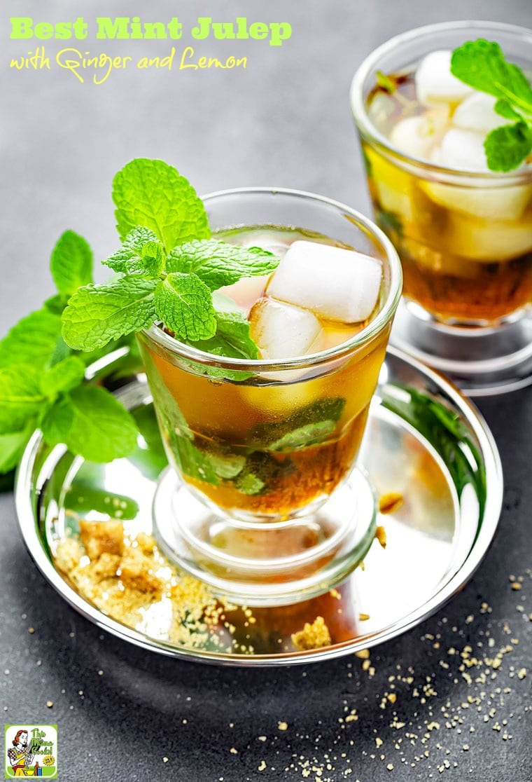 The Best Mint Julep Recipe with Ginger and Lemon. Click for this ginger mint julep recipe to serve on Derby Day or on a warm summer evening.