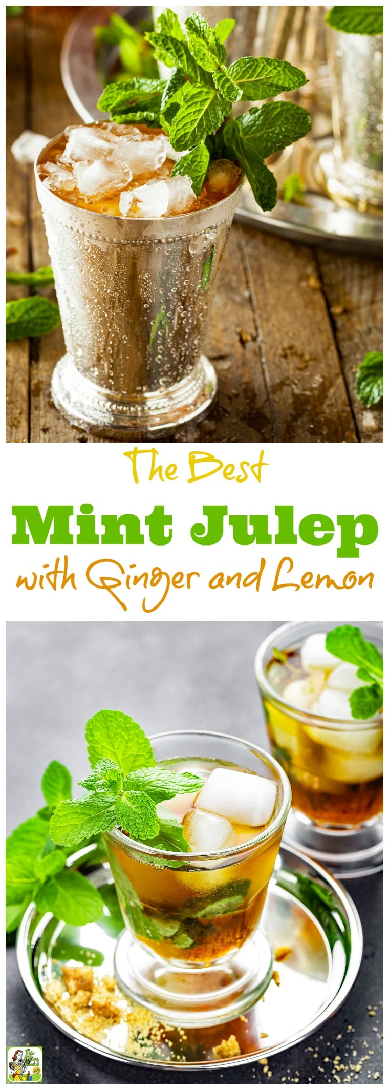 The Best Mint Julep Recipe with Ginger and Lemon is the ideal mint julep cocktail for your Derby Day party. Click to get this sugar free iced tea mint julep recipe. Can also be made as a mint julep mocktail recipe.