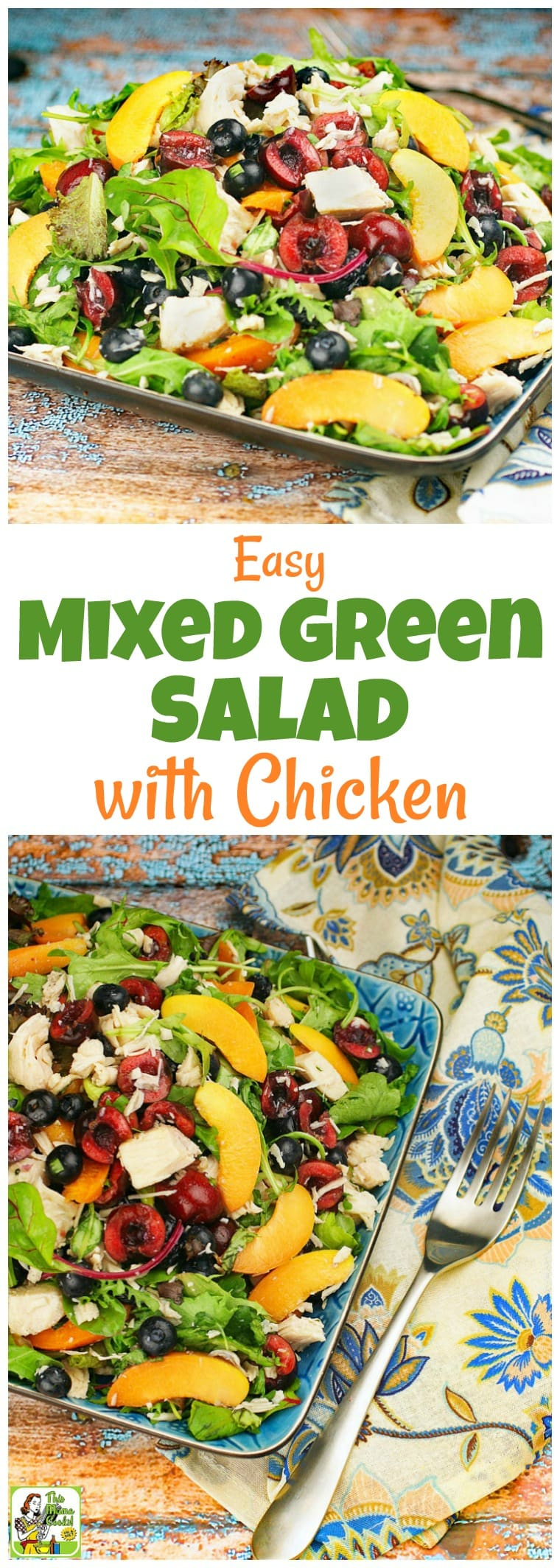 Too hot to cook? This Easy Mixed Green Salad with Chicken recipe makes a satisfying weeknight meal. There's no cooking since it uses canned chicken breast. Click to get this healthy mixed green salad with chicken recipe that takes under 20 minutes to make, is easy to prepare, and uses seasonal fruits, too. #chicken #salad #easy #recipe #chicken #healthyrecipe #chickensalad #salad #glutenfree #dinner #healthyrecipes #recipeoftheday #easydinner #nocook #chickenrecipe