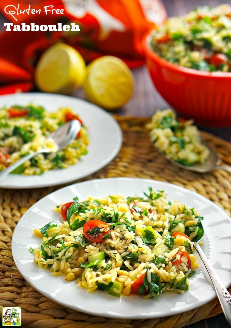 Can't eat coucous because it's wheat? Then you have to try this Gluten Free Tabbouleh recipe! Click to get this easy-to-make rice salad recipe.