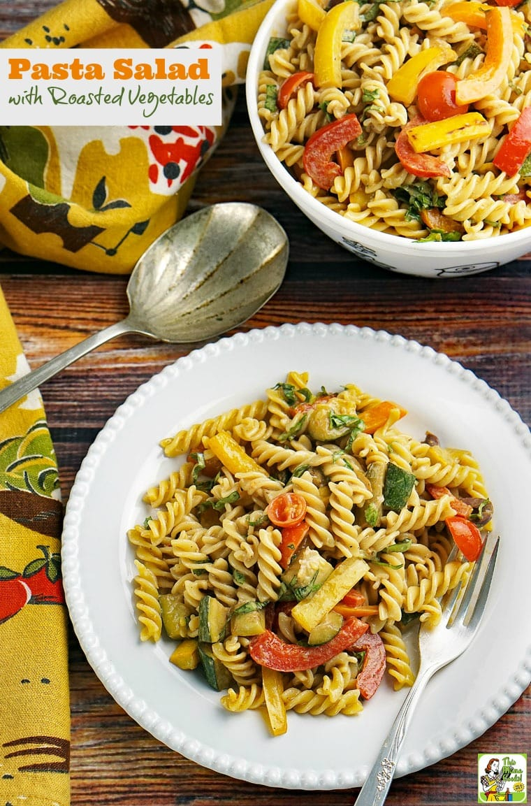 Looking for an easy gluten free pasta salad recipe that can be made in less than 30 minutes? Click to get this Pasta Salad with Roasted Vegetables recipe. Ideal for cookouts, brunch parties, tailgating or potlucks. Can be made with gluten free pasta, whole wheat pasta or regular pasta.