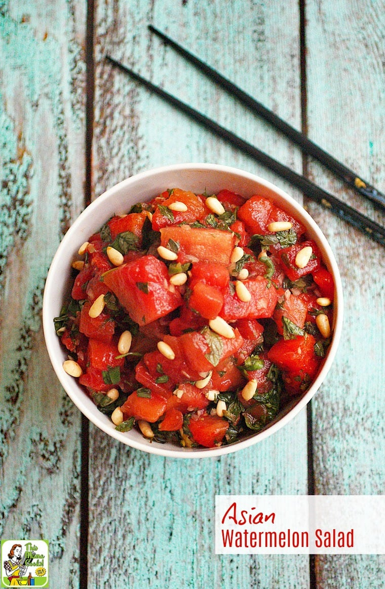 Looking for a healthy watermelon salad recipe to serve at your next cookout? Click to get this Asian Watermelon Salad recipe! It's naturally gluten free, nut free, vegan, and vegetarian. #vegan #vegetarian #asian #watermelon #salad #easyrecipe #healthyrecipe #fruitsalad #glutenfree #nutfree