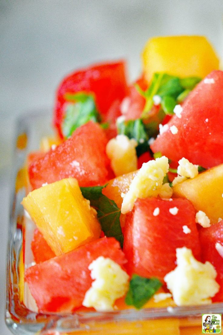 Watermelon And Cantaloupe Salad Recipe This Mama Cooks On A Diet Fan 5 cantaloupe wedges on each of 4 plates; watermelon and cantaloupe salad recipe