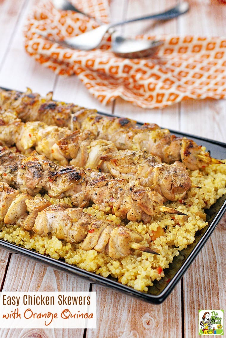 This gluten free Easy Chicken Skewers with Orange Quinoa recipe is ideal for grilling cookouts and tailgates. Click to get this spicy orange chicken recipe.
