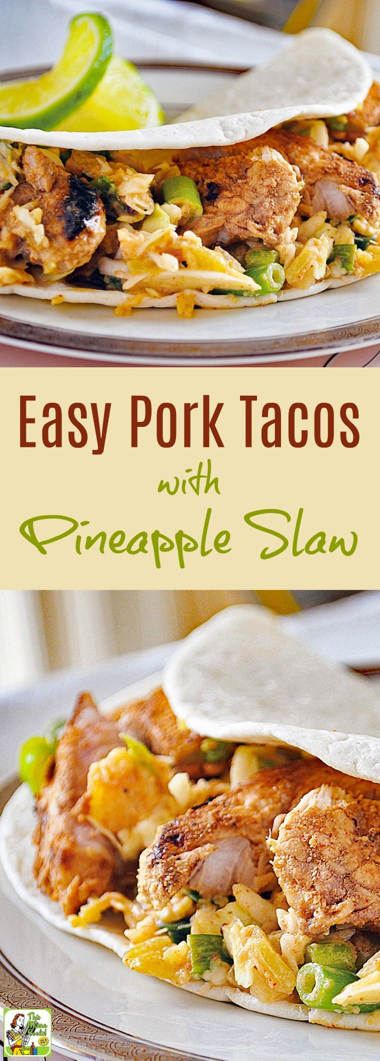 This Easy Pork Tacos with Pineapple Slaw is perfect for busy weeknights. Make on the stovetop or outside on the grill. Serve on flour tortillas or gluten free corn tortillas. Can be made dairy free, too. Click to get this easy and healthy pork taco recipe. Diabetic friendly!