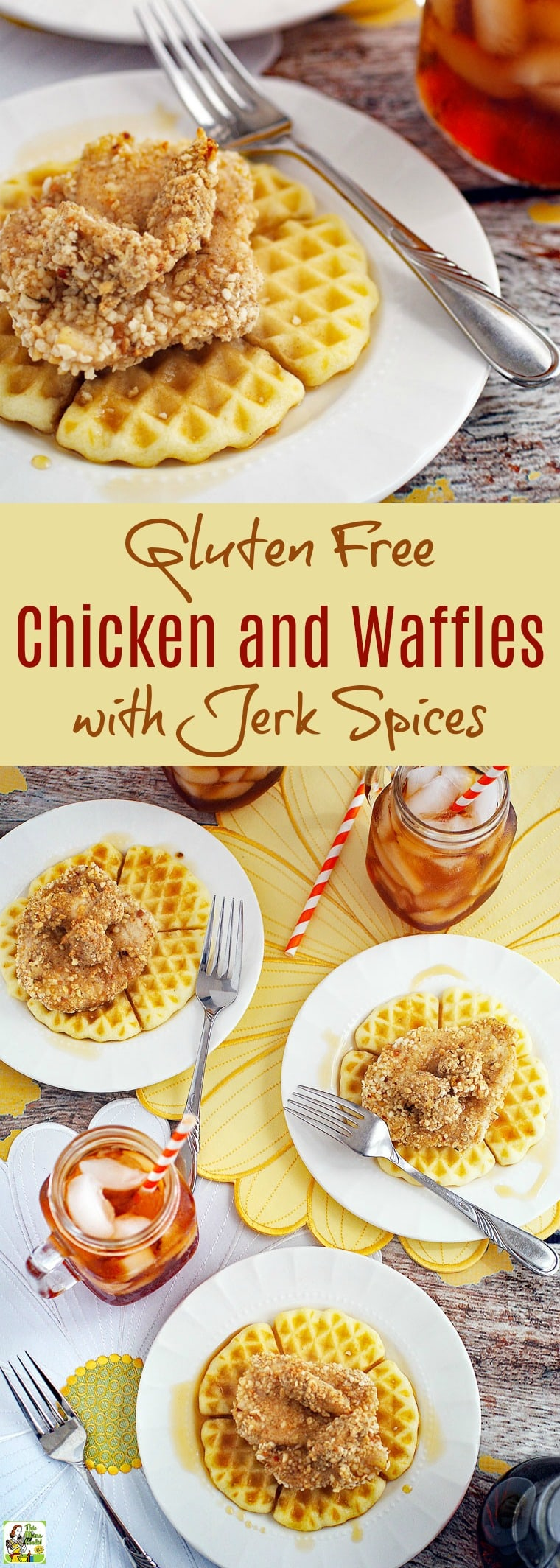 Love chicken and waffles but are gluten free? Click here to get a recipe for an easy to make, oven baked and healthy, homemade Gluten Free Chicken and Waffles with Jerk Spices recipe! Use your favorite gluten free waffle mix. Perfect for brunch, dinner or brinner! #GlutenFree #Chicken #Waffles #ChickenWaffles #Breakfast #Dinner #Brinner #JerkSpices #GlutenFreeWaffles #SouthernCooking