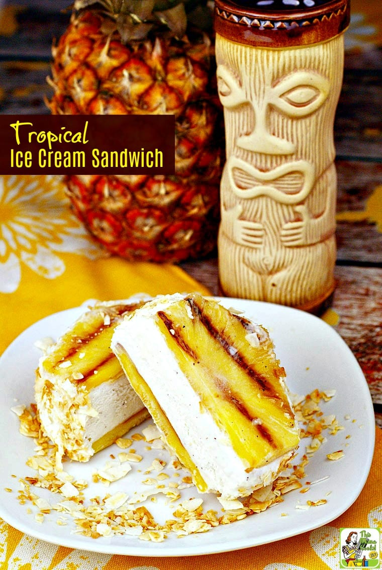 This easy ice cream sandwich recipe is a cool summer dessert treat that's gluten free. It's also guilt free since it's made with healthy pineapple, your favorite vanilla or dairy free ice cream, and toasted unsweetened coconut. Click to learn how to make a Tropical Ice Cream Sandwich!