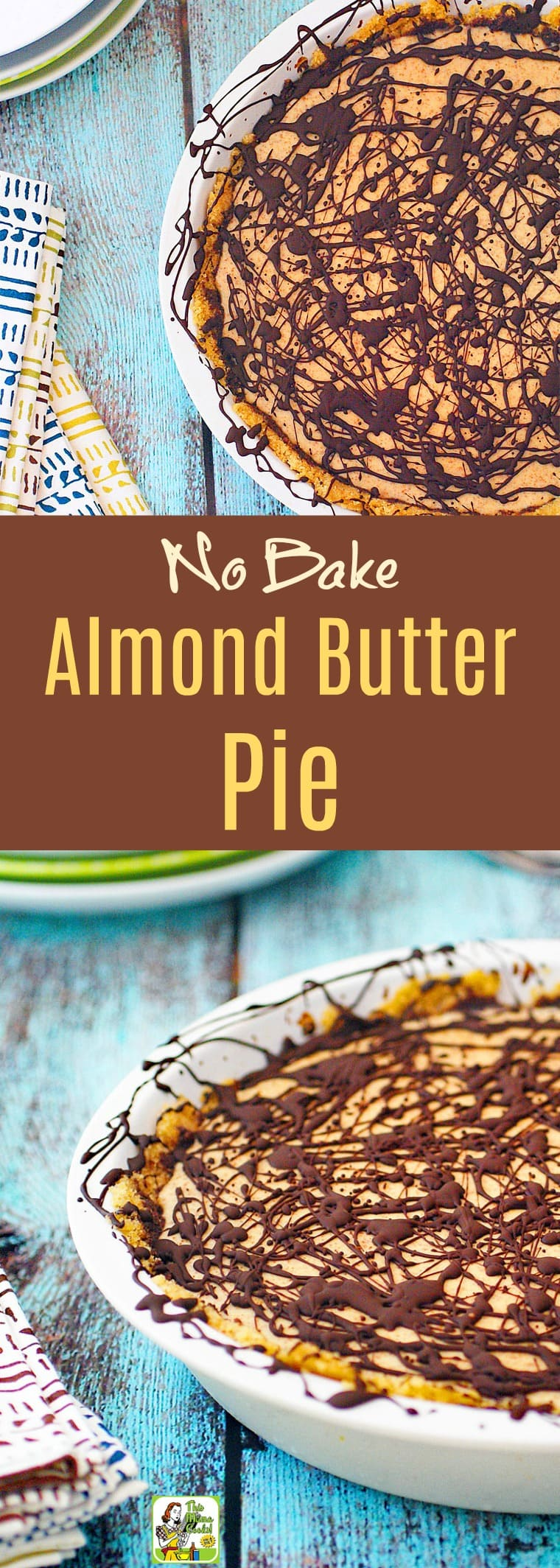 Looking for an easy no bake pie with an easy no bake pie crust? Click to get this No Bake Almond Butter Pie recipe with a chocolate drizzle. It's dairy-free, gluten free and comes with a simple vegan option. You'll love how easy this pie is to make!