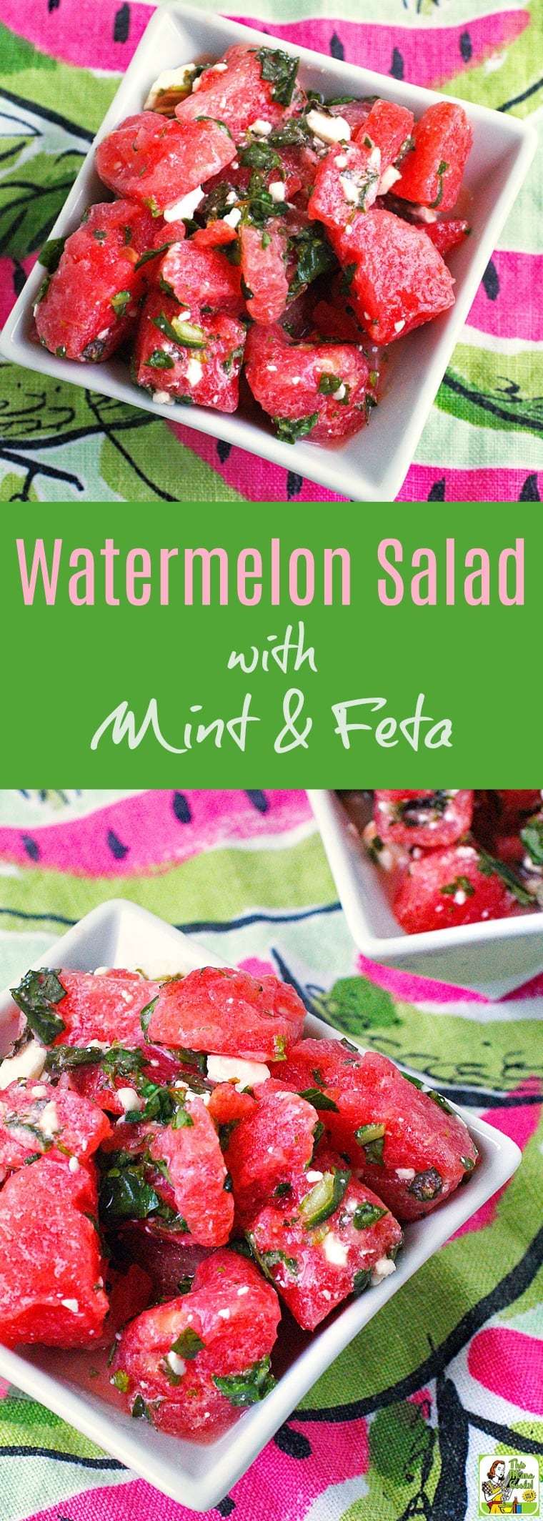 Watermelon Salad with Mint & Feta is the ideal fruit salad to serve at a cookout or to bring to a potluck party. Click to get this easy, gluten free watermelon salad recipe. #salad #watermelon #healthyrecipe #easyrecipe #vegetarian #feta #glutenfree #fruitsalad #fruit #mint