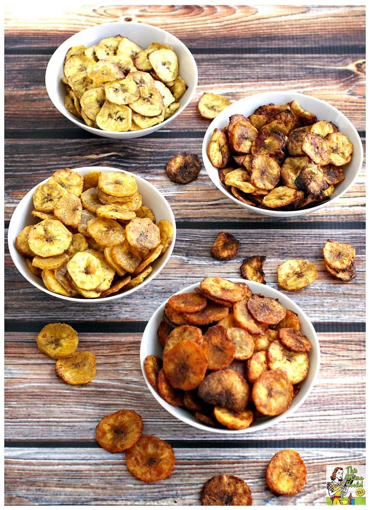 Four bowls of baked plantain chips recipe.