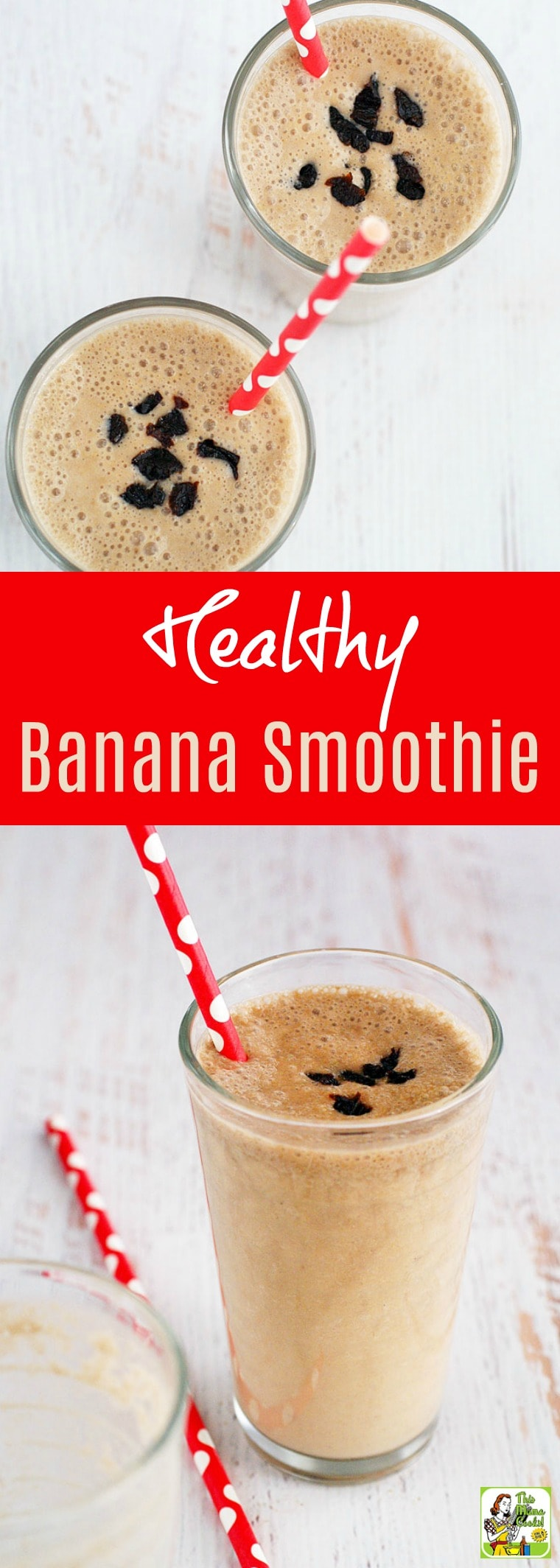 Jump start your day with a Healthy Banana Smoothie. This banana smoothie recipe makes a terrific on the go breakfast meal. It's dairy free, nut free, gluten free, and made with sunflower butter, coconut milk, and light plum juice. #banana #smoothie #dairyfree #glutenfee #nutfree #breakfast #snack #vegan